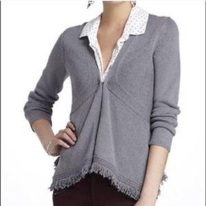 Anthropologie Sparrow Grey Fringe Cardigan Sweater